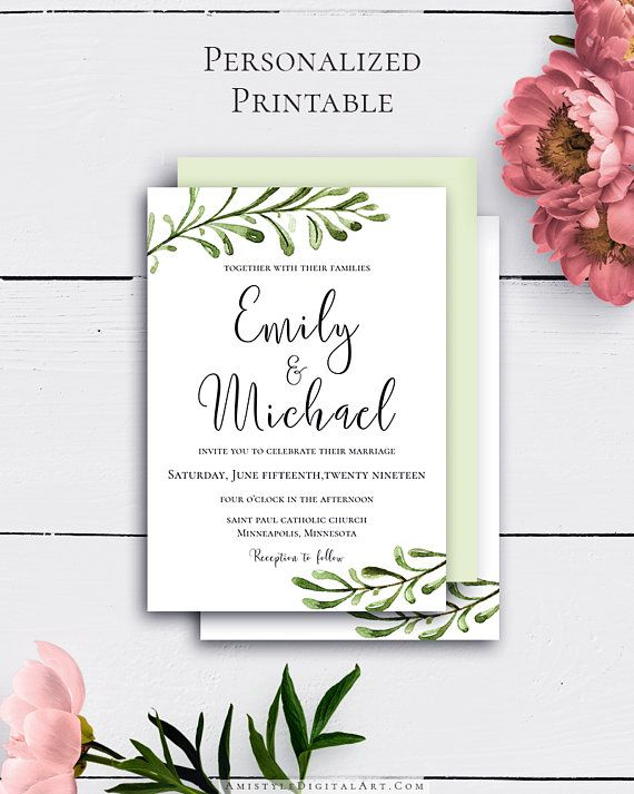 Custmozied Printable Greenery Wedding Invitation with trendy and delightful watercolor greenery graphics in rustic wedding style by Amistyle Digital Art on Etsy