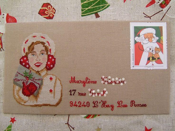 Enveloppe de no l pour maryl ne point de croix cross stitch broderie embroidery glazig - Enveloppe de noel ...