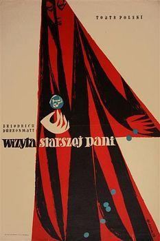 By Zbigniew Kaja (1924- 1983), The Visit,Wizyta starszej pani, 1 9 5 8, Theater poster.