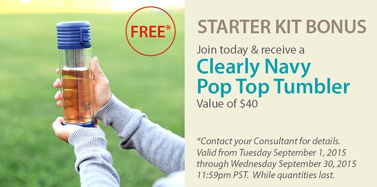 Join Steeped Tea Today and receive the Clearly Navy Pop Top Tumbler FREE! ($40 Value)