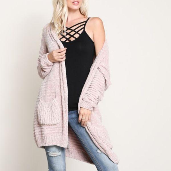textured chenille knit shawl cardigan - twig