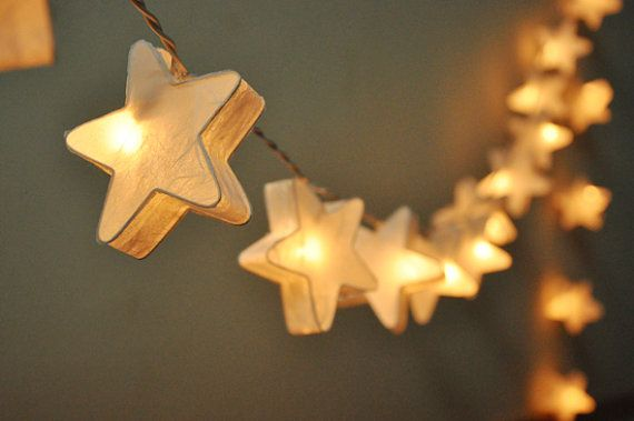 35 Bulbs Handmade White mulberry paper Stars Lanterns Garland for wedding party decoration on Etsy, $18.50