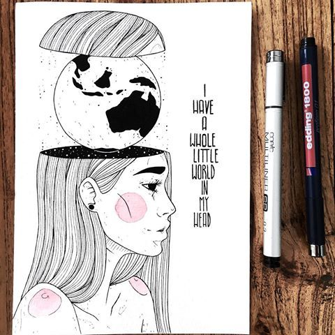 """Inktober 3/31: """"I have a whole little world in my head"""" Sometimes I do stuff where I think afterwards """"Oh man Dina. that was stupid! """" I wanted to make the water of the globe black. But then I realised I had made the inside of her head black ... so it wouldn't have contrasted well. sooo I had to make the water white and the countries black ..art is a progress. You will make mistakes sometimes ...nevermind, I actually dont mind this picture now! #inktober #inktober2017 @inktober #art..."""