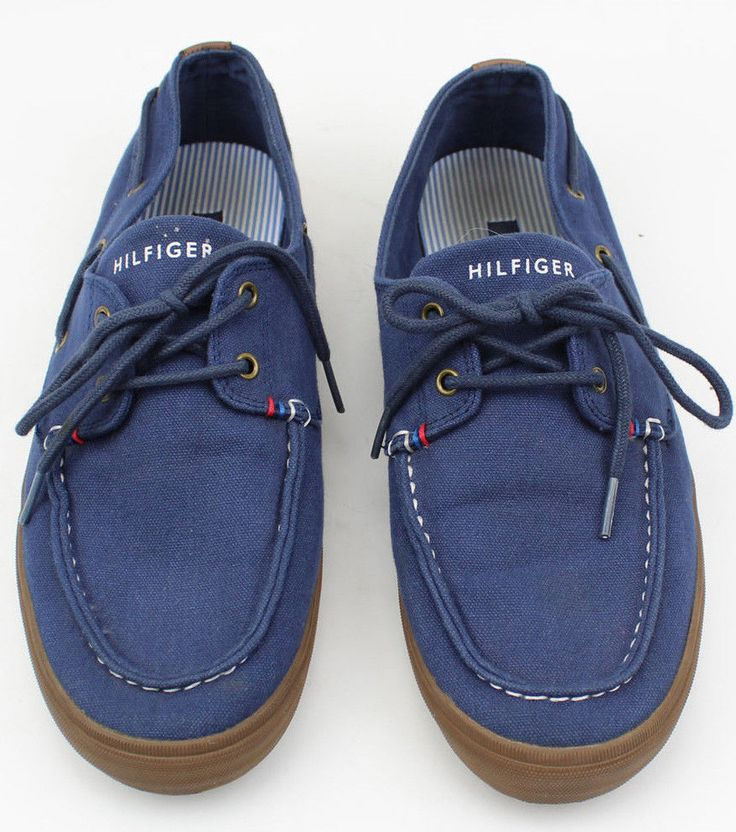 Tommy Hilfiger Mens Boat Shoes Sneakers Size 9 Navy Blue Nautical Sailing #TommyHilfiger #BoatShoes #sailing