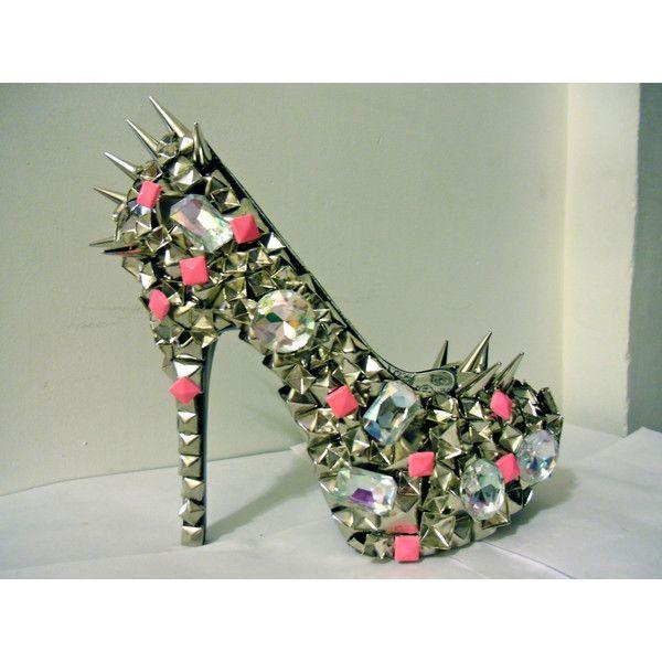 Pink Studded Out Pumps w/ Spikes (Nicki Minaj) ($350) ❤ liked on Polyvore