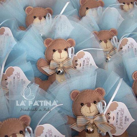 SnapWidget | Bomboniere personalizzate in pannolenci imbottito #bomboniere #battesimo #orsetti #pannolenci #feltro #lafatina #handmadeinitaly
