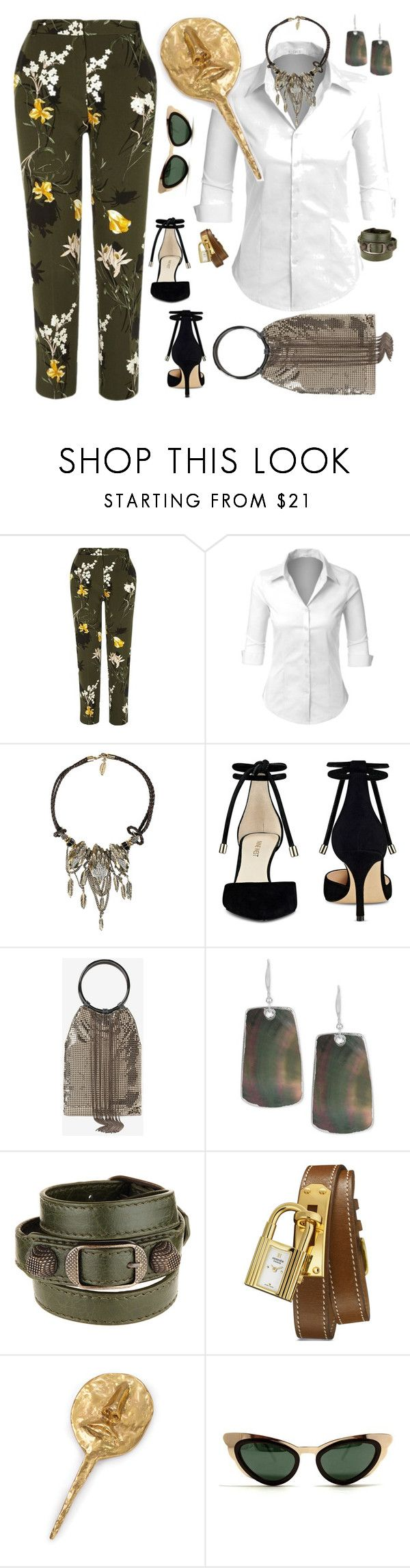 """with a White Shirt"" by petalp ❤ liked on Polyvore featuring River Island, LE3NO, Roberto Cavalli, Nine West, White House Black Market, Robert Lee Morris, Balenciaga, Hermès, Kelly Wearstler and Spitfire"