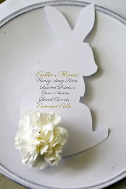 Easter bunny menu card with carnation tail~~