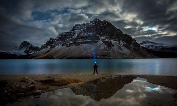 A twilight encounter at Bow Lake, Banff National Park.