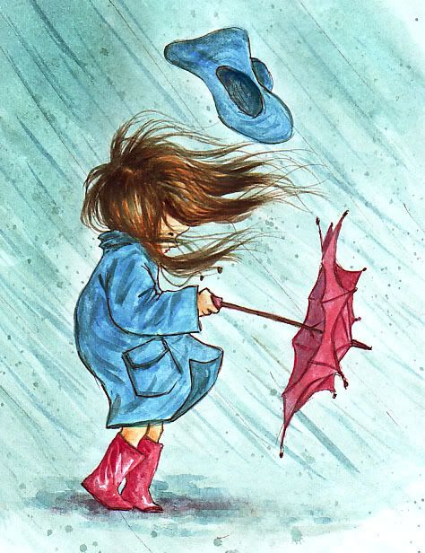 coloured drawing, young girl, blue slicker  hat, red umbrella  rain boots; windy day