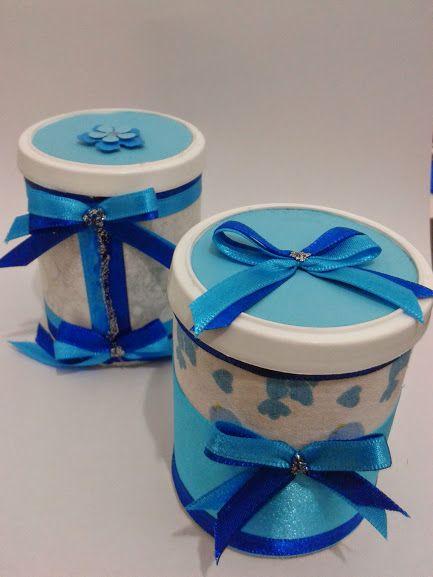 Latinhas decoradas para embalagens dos mais variados presentes...