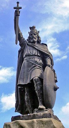 Alfred the Great, King of the English. A wise man and a great leader. Google Image Result for http://upload.wikimedia.org/wikipedia/commons/thumb/2/22/Statue_d%27Alfred_le_Grand_%C3%A0_Winchester.jpg/220px-Statue_d%27Alfred_le_Grand_%C3%A0_Winchester.jpg