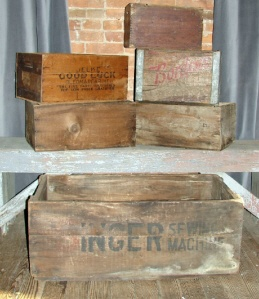 Assorted Old, Wooden Boxes
