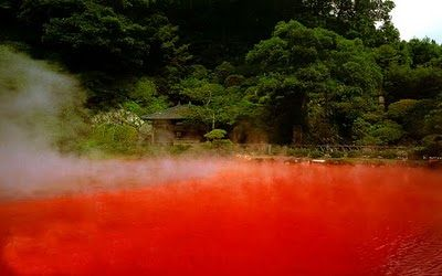"This ""blood pond"" in Japan water's have 90% iron content. The water is nearly 90 degrees Celsius!"