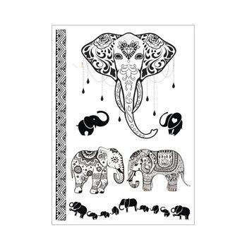 z jednoho kusu Indian arabský Flash Tetování henou Black Lace sloní mládě st Svatební Henna Dočasné tetování Fake samolepka Taty J018B