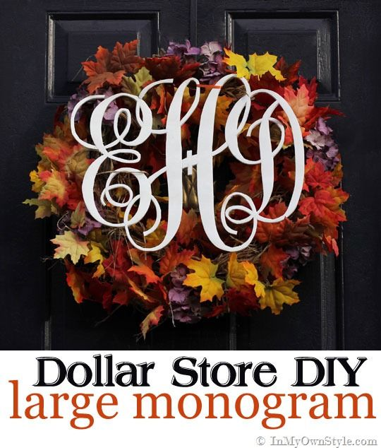 How to make a large monogram for a wall or door using a foam board.  Costs only a few dollars. {In My Own Style.com}