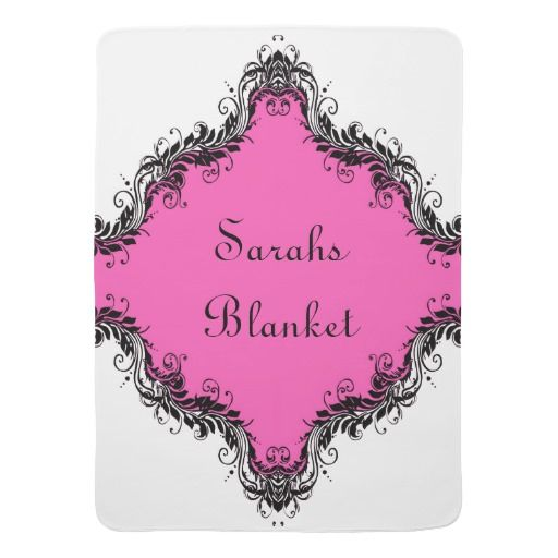 Pink Black Damask Pattern Baby Blanket Receiving Blanket - This design has a symmetrical damask pattern in which to place a name on one side and scales of damask on the other. Play with the background colour and play with the font style and colour to get it just the way you like it!