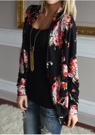 Floral Printed Cardigan Without Necklace  Very  temperament