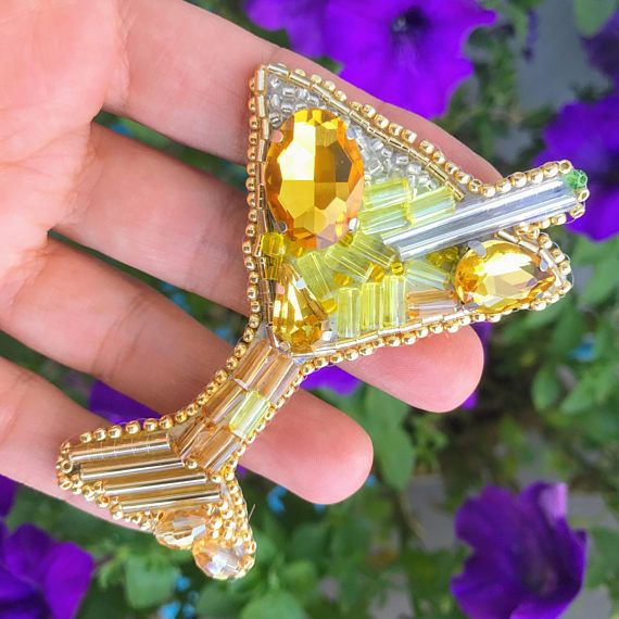 Gold Martini Glass Brooch Beaded Jewelry Embroidered Pin