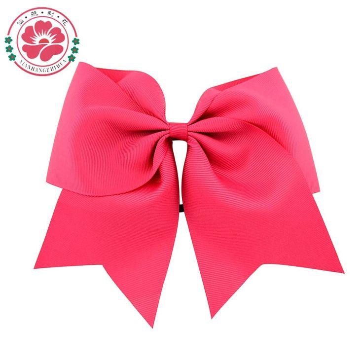 8 Inch Large Solid Girls Cheerleading Hair Bow Grosgrain Ribbon Cheer Bow Elastic Band Ponytail Hair Holder For Girl /Women 598