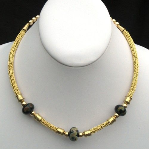 Gold parawire viking knit with borosilicate lampwork beads