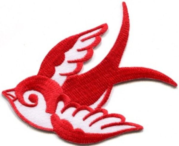 Ecusson patch applique à coller hirondelle blanche old school rockabilly pin up retro vintage : Déco, Customisation Textile par au-lutin-agile-patches-et-apprets