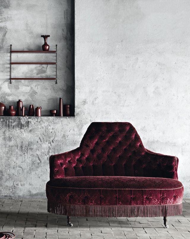 Fringe Trends | Red Velvet Sofa