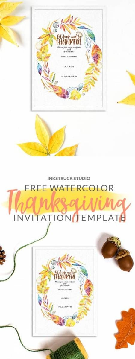 Printable Watercolor Invitation Template for Thanksgiving