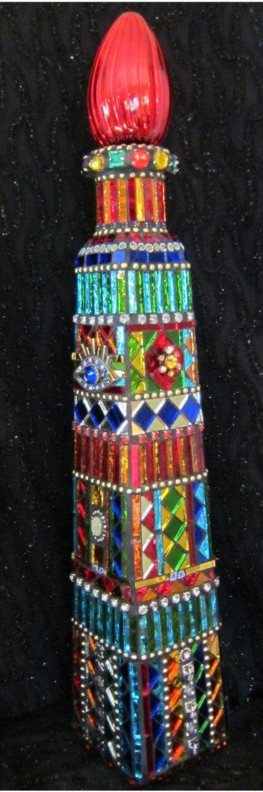 Large Mirrored Mosaic Bottle 20 glass art by siriusmosaics
