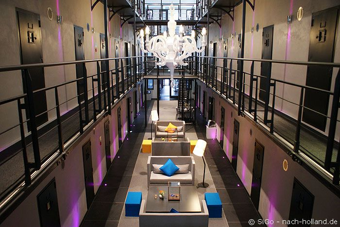 Schickes Design und auch etwas Luxus im 4-Sterne-Hotel Het Arresthuis in Roermond, das in einem ehemaligen Gefängnis untergebracht ist.