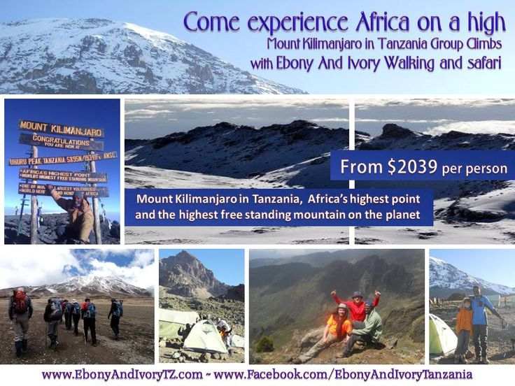 Come experience Africa on a HIGH  Kilimanjaro climbs www.facebook.com/EbonyAndIvoryTanzania