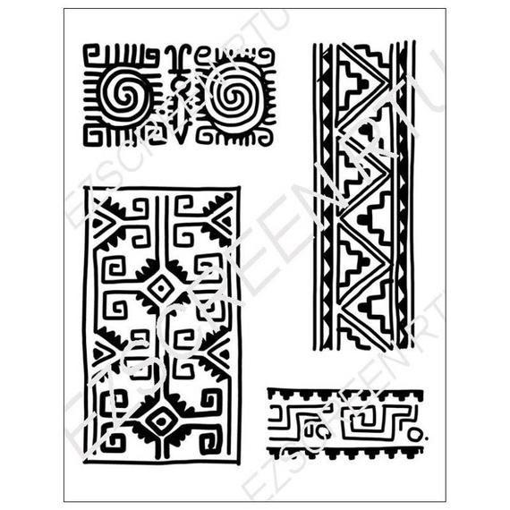 Silk Screen Printing Stencil Tribal Border Designs For Polymer