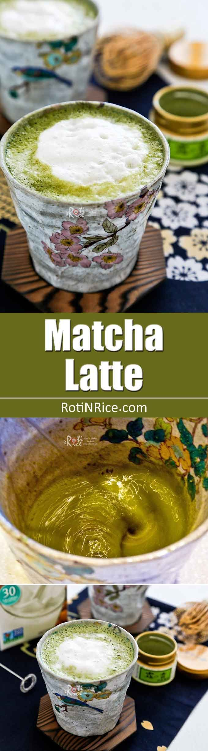 Frothy Matcha Latte, a delicious alternative to caffe latte. Matcha (green tea powder) combined with your choice of almond, soy, coconut or cow's milk. | RotiNRice.com