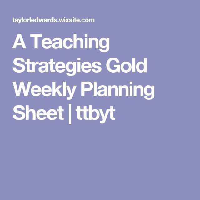 A Teaching Strategies Gold Weekly Planning Sheet | ttbyt