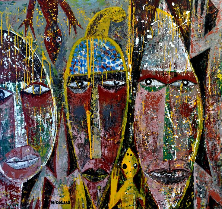 Nicolaas Maritz, THREE ANCESTRAL APPARITIONS WITH REPTILES, 2010/14, enamel paint on board, 1220 x 1300mm