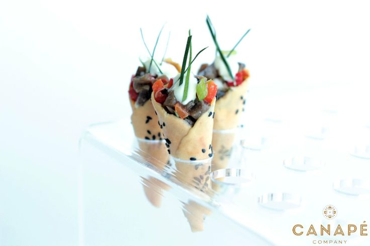 Black sesame cones with miso eggplant roasted capsicum for Summer canape ideas