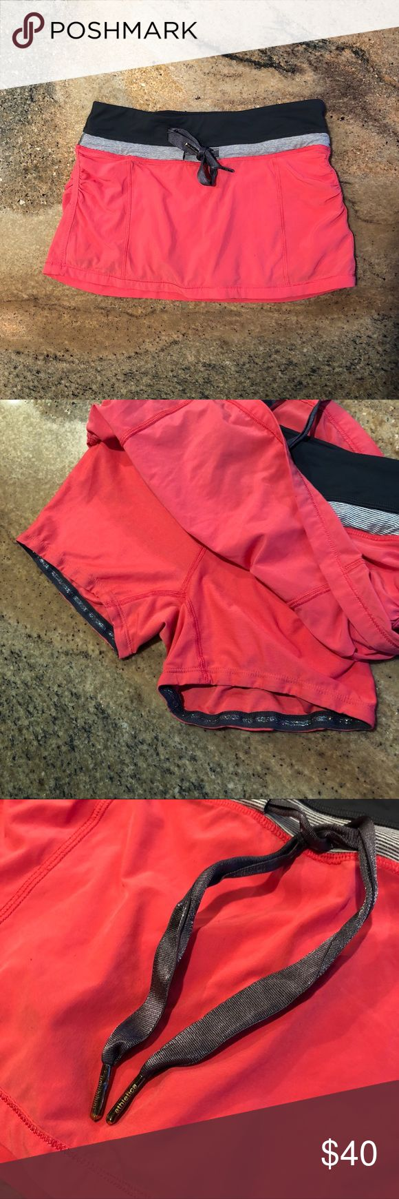 """Lululemon Coral Mini Skirt Spandex Beautiful skirt! Awesome glitter grips on spandex. 2 small """"snags"""" as pictured lululemon athletica Skirts Mini"""