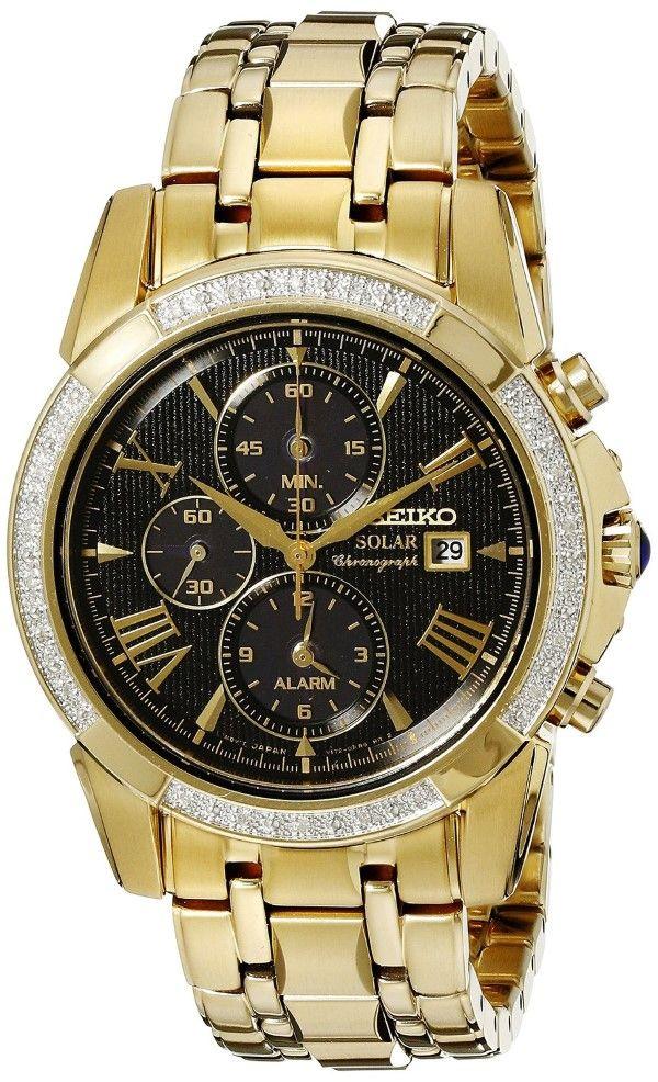 Men watches | Seiko Men's SSC314 Analog Display Analog Quartz Gold Watch Best watches for men