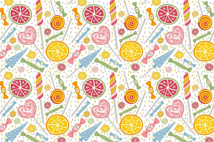Candies and Sweets. Seamless pattern By JuliyaS Art