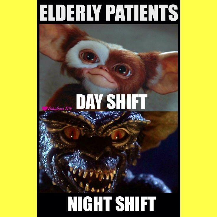 Elderly patients. Nurse humor. Nursing humor. Sundowning patients. Hospital humor. Gremlins. Transformation Tuesday. Fabulous RN.
