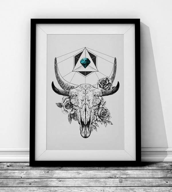 Skull with color Wieprz Design Studio. #skull #design #graphics #interiordesigns
