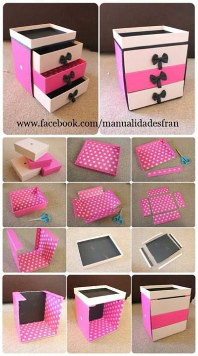 Joiero con cajas de zapatos manualidades gratis - Cajas para manualidades ...