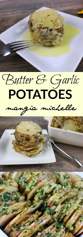 Butter and garlic potatoes are an easy and unique potato dish that will complement a fancy steak dinner ~ www.mangiamichelle.com