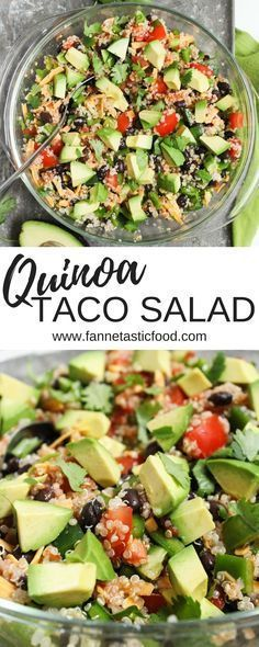 This quinoa taco salad is such an easy healthy dinner or packed lunch. The recipe is really just a method - feel free to get creative with it!   easy lunch ideas   healthy packed lunch   healthy vegetarian dinner ideas  