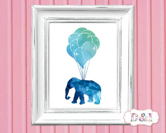 Elephant Balloons - Watercolor Wall Art Print ~ Instant download, JPG PDF Printable