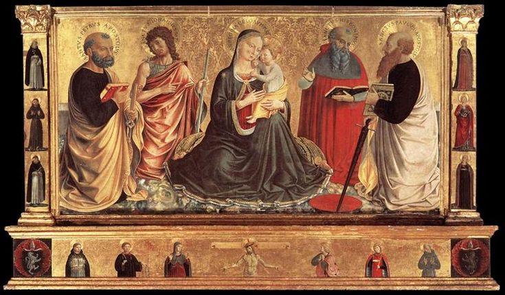Madonna y niño con San Juan Bautista, Pedro, Jerome, y Paul, 1456 - Benozzo Gozzoli