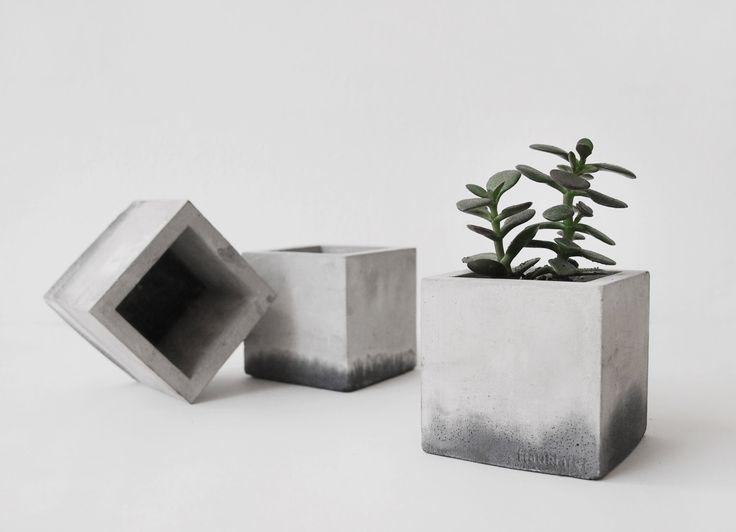 hexahedron concrete planter handmade cachepot modern cube pot (24.00 EUR) by frauklarer