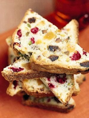 Filled with dried figs or apricots, pistachios, and cranberries, this loaf is a Christmas recipe favorite.