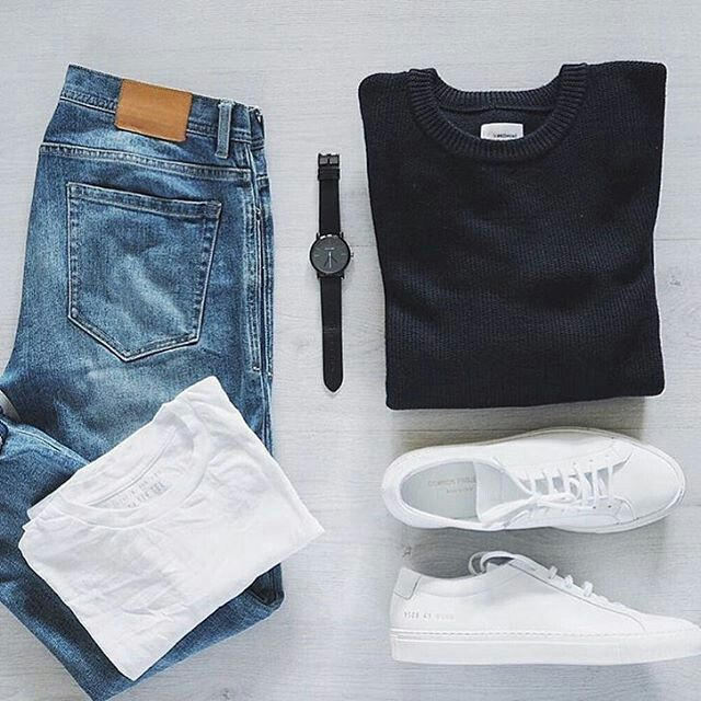 black crewneck sweater. long white tee. light wash denim. all white sneakers. black watch. - designer watches mens, mens big face watches, mens citizen watches