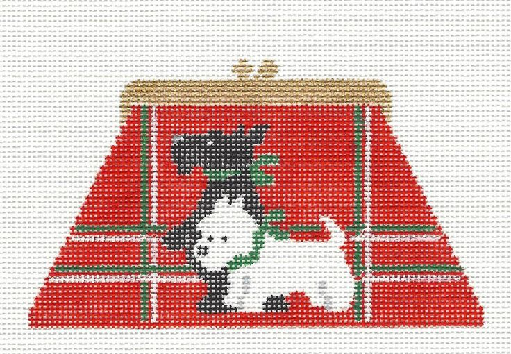 *NEW*  Kathy Schenkel Black /& White Scottie Dogs on Purse HP Needlepoint Canvas
